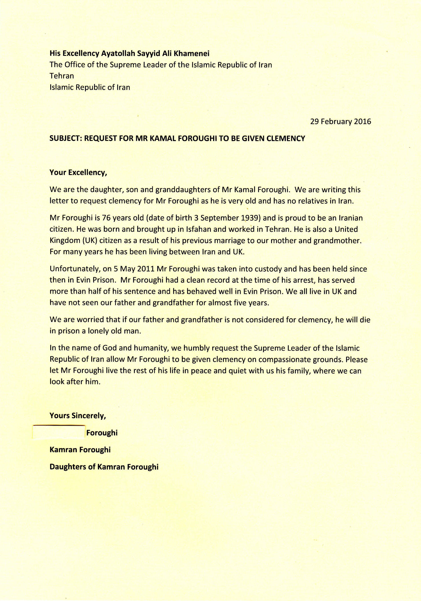 Letter to iran supreme leader free kamal foroughi letter english ccuart Images