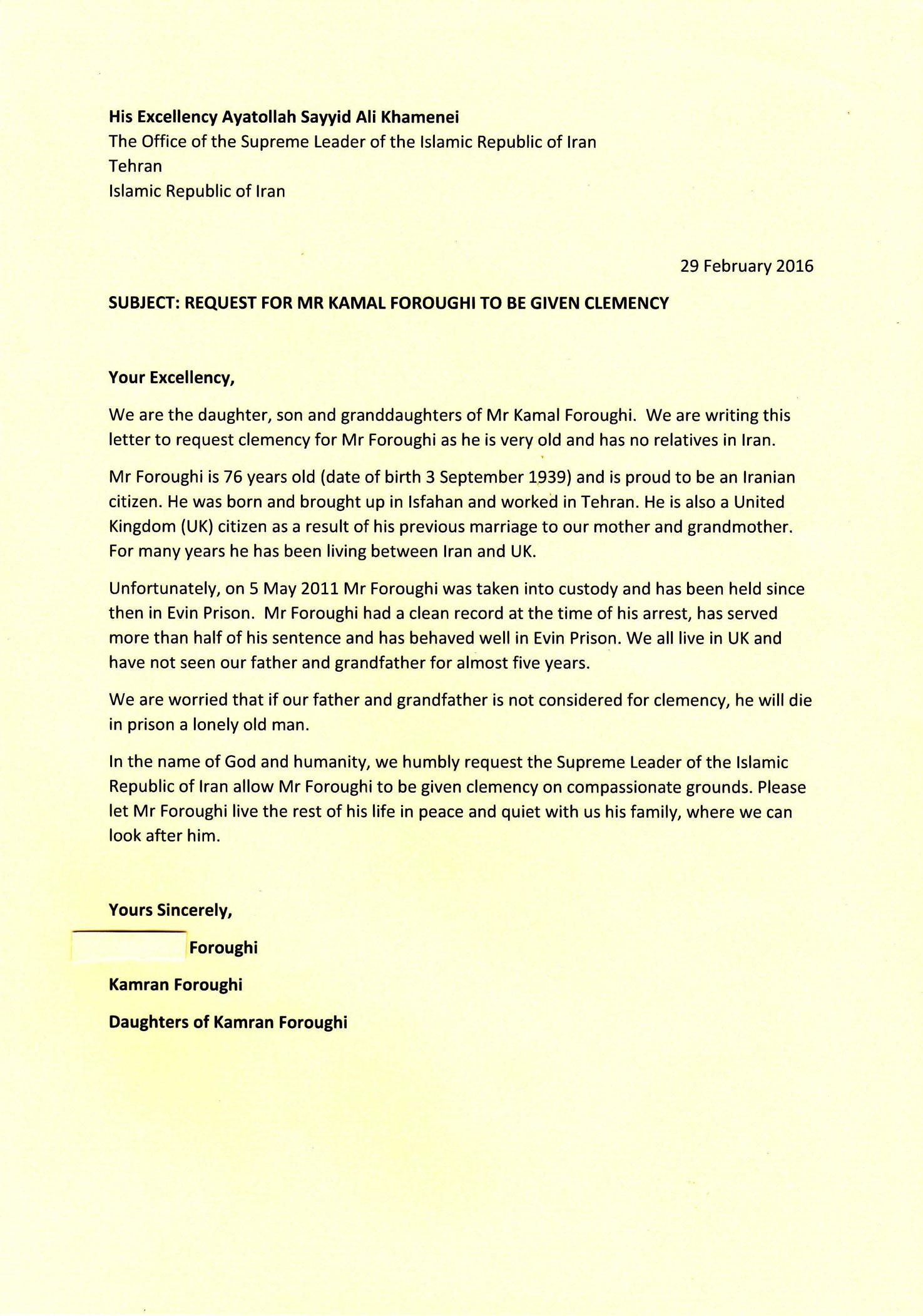 Letter to Iran Supreme Leader – Free Kamal Foroughi