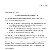 Image of MPs letter front page